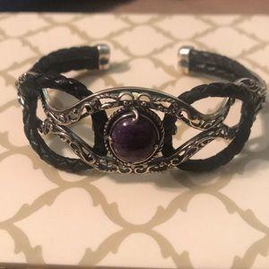 Carolyn Pollack agate & silver bangle
